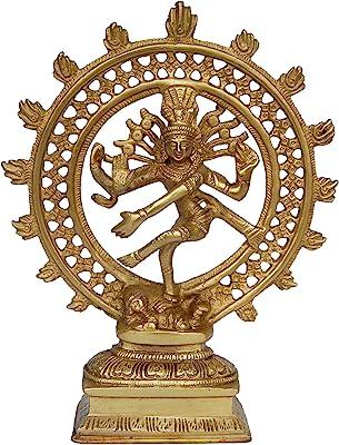 Aakrati Lord Shiva in Dancing Position (Natraj) Metal Made Gift Yellow