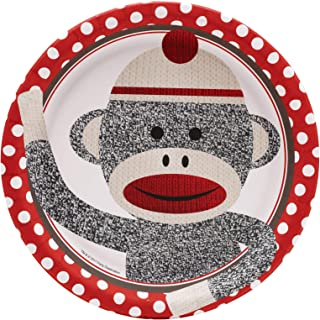 Birthday Express Sock Monkey Party Supplies - Dinner Plates (8)