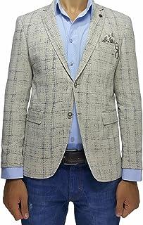 Cream Cotton Slim Fit Mens Blazer