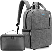 CoolBELL Camera Bag DSLR Camera Backpack SLR Organizer Travel Case with Water-Resistant Cover/Independent Organizer Compatible for Canon Nikon Sony Olympus SLR Lens Tripod 15.6 Inches Laptop (Grey)