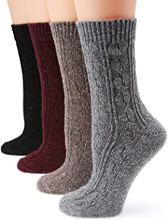 MIRMARU Women's Premium Winter 4 Pairs Wool And Cotton Blend Crew Socks Collection