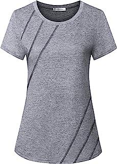 JCZHWQU Women's Short Sleeve Round Neck Loose Fitting Athletic Yoga Shirt