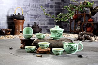 GnD High End Embossed Carp Celadon Gongfu Tea Set with Vivid Hand-painted Landscape/Lotus,Set of 8,Perfect for Morning/Afternoon Gongfu Tea Service with Your Family and Friend,Set of 8 (Landscape)