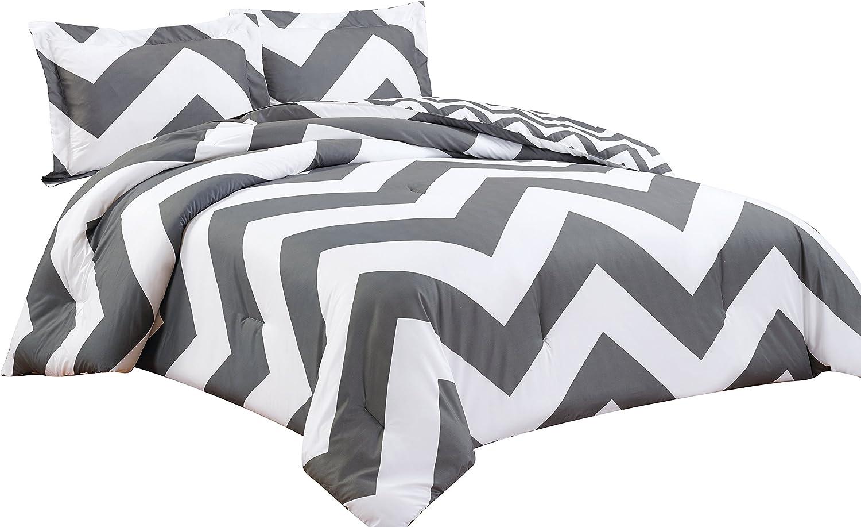 Chezmoi Collection 3-piece Chevron Zig Zag Comforter Bedding Set (King, Grey)
