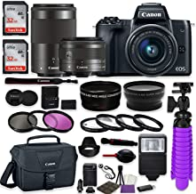 Canon EOS M50 Mirrorless Digital Camera (Black) Premium Accessory Bundle with Canon EF-M 15-45mm is STM Lens + Canon EF-M 55-200mm f/4.5-6.3 is STM Lens + 64GB Memory + HD Filters + Auxiliary Lenses