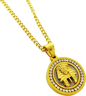 Exo Jewel Diamond Framed Mini Medallion Pendant Stainless Steel Necklace 24