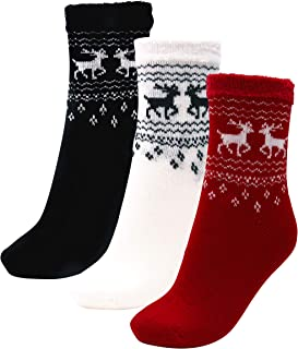3 Pairs Cozy Cabin Socks for Women - Aloe Infused Moisturizing Fuzzy Fluffy Soft Holiday Christmas Gift