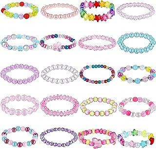 دستبندهای مهره ای 20 تکه دخترانه دستبندهای مهره رنگین کمان زیبا دستبندهای رنگارنگ دستبندهای پرنسسی دستبندهای مهره ای کشدار برای تولد شاهزاده