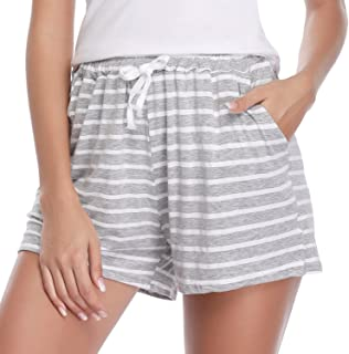 1 & 2 PCS Women Striped Cotton Sleeping Pajama Bottoms Exercise Fitness Shorts