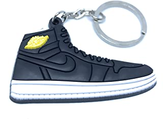 designer fashion d7cfb f273f Air Jordan Retro 1 Black And White Yellow Shoe Keychain Collectable