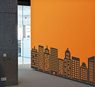 Wallency City Skyline Wall Decal Featuring Nine Geometric Buildings Silhouettes - Removable Vinyl Stickers
