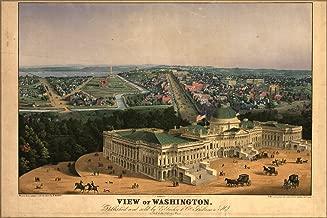 20x30 Poster; Birdseye View Map Of Washington D.C. 1852