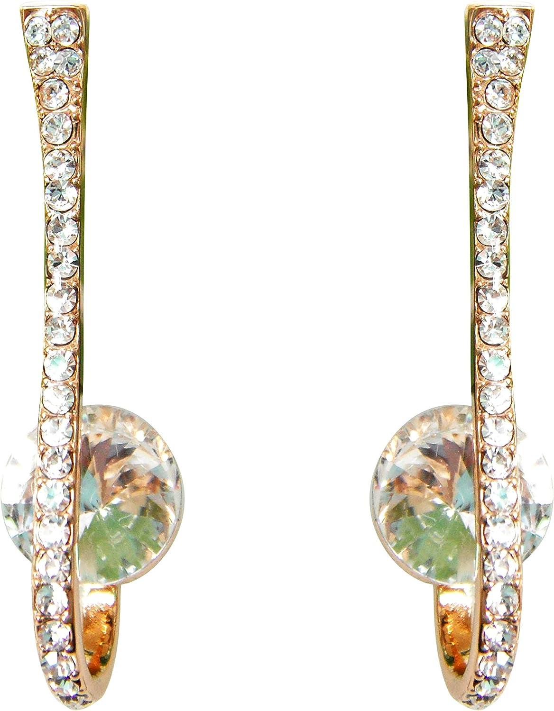 Navachi 18k Gold Plated Zircon Crystal Hook Stud Earrings