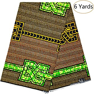 Dexuelan Java African Wax Print 6 Yards Fabric Ankara Print Fabric with Feather Designs for Sewing Dress (Green and Orange)