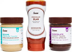 Soom Pantry Sampler: (1) Sesame Tahini 11oz, (1) Chocolate Sesame Tahini 12oz and (1) Silan Date Syrup 12.3oz