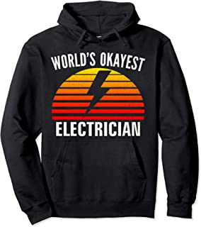 Vintage Retro World's Okayest Electrician Funny Lineman Gift Pullover Hoodie