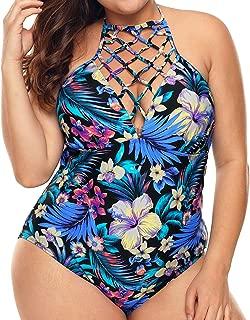 TURNMEON Women One Piece Swimsuit Plus Size Mesh Swimdress Tankini Bathing Suit Swimwear Tummy Control Skirt Bikini Set