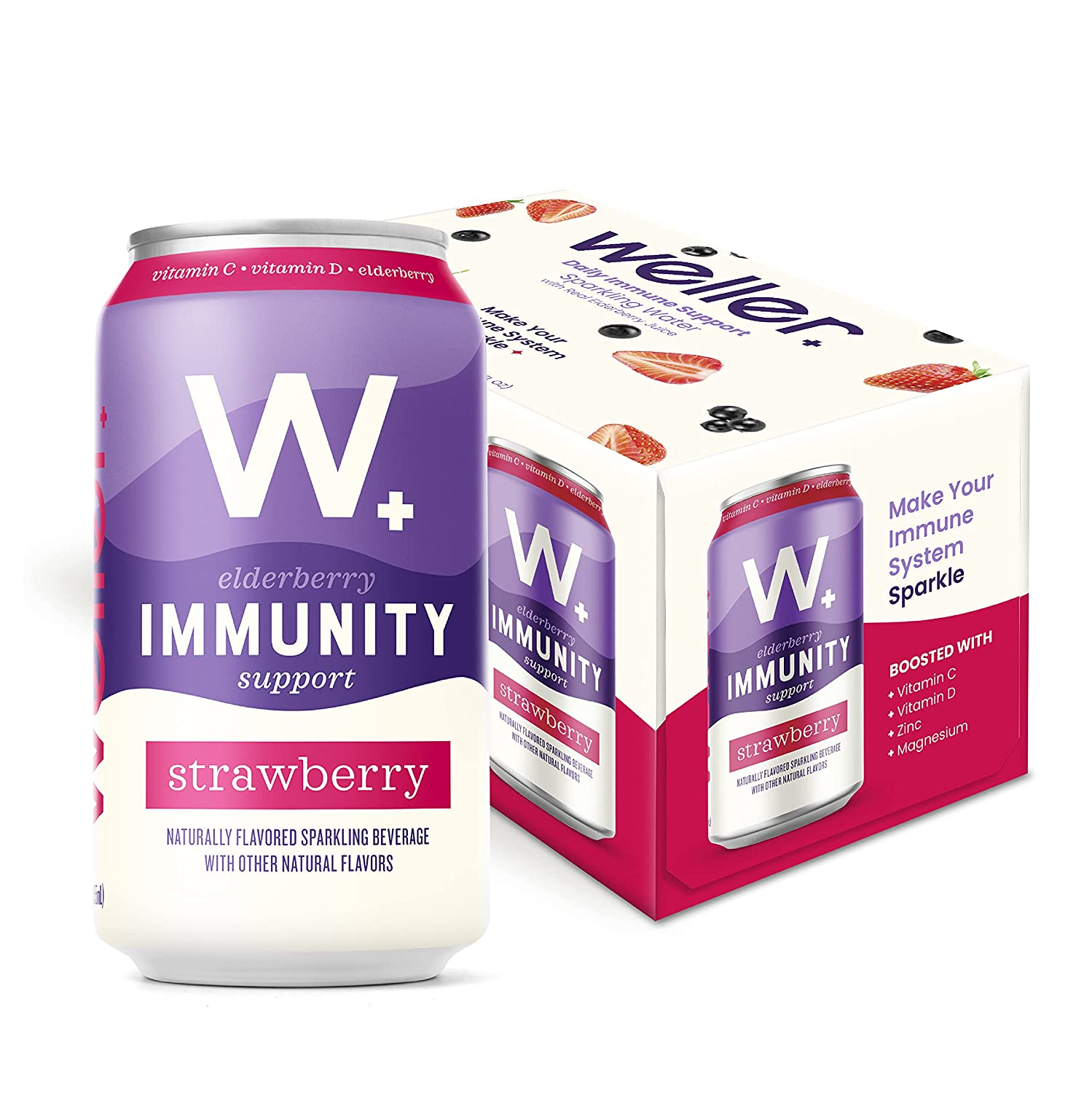 Weller Elderberry Immunity Support Sparkling Water, Strawberry Flavored Water, Low Sugar, Low Calorie, All Natural Drinks (6 pack, 12oz cans)