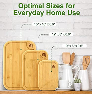 Bamboo Cutting Board Set with Juice Groove (3 Pieces) - Kitchen Chopping Board for Meat Cheese Vegetables and Fruits