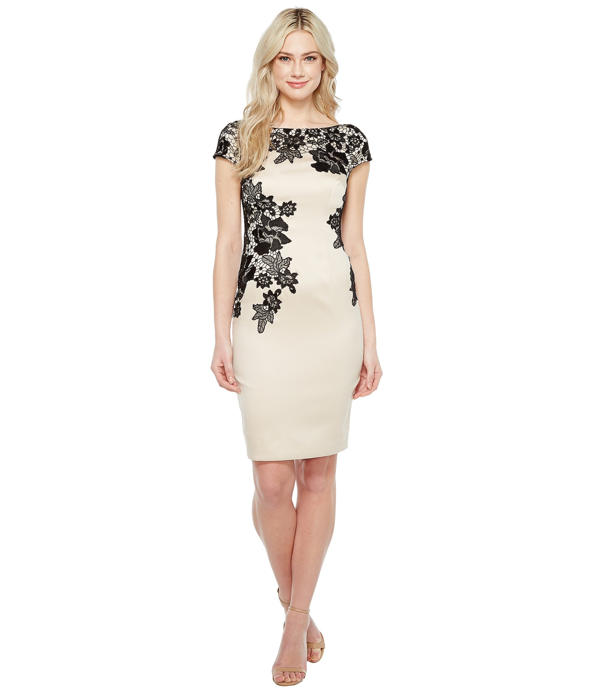 Vestido para Mujer Adrianna Papell Appliqued Lace Sheath Dress  + Adrianna Papell en VeoyCompro.net