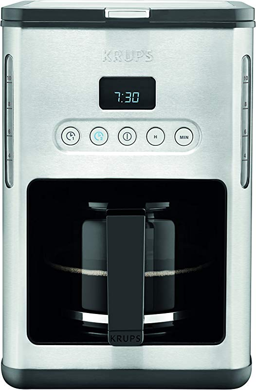 KRUPS KM442D Control Line Programmable Coffee Maker Machine With Stainless Steel Finish 10 Cup Silver