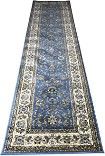 Traditional Long Persian Runner Area Rug (330,000 Point) Blue Design 601 (31 Inch X 9 Feet 10 Inch)