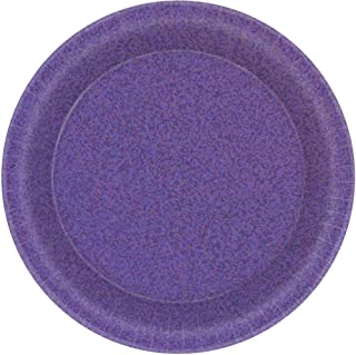 Plain Purple Round Prismatic Paper Plates-8pc