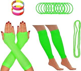 Redstar Fancy Dress - Partyoutfit für 80er-Neonparty - Beinstulpen Netzhandschuhe Perlenkette Neonfarbene Gummiarmbänder - Grün