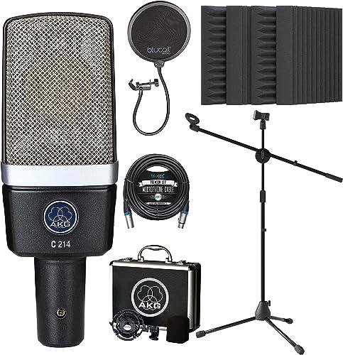 wholesale AKG Pro Audio C214 Professional Large-Diaphragm Condenser sale for Vocals, Acoustic Guitar, Drums Microphone Bundle with lowest Blucoil 20' XLR Cable, Pop Filter, Adjustable Mic Stand, and 4X 12 Acoustic Wedges online