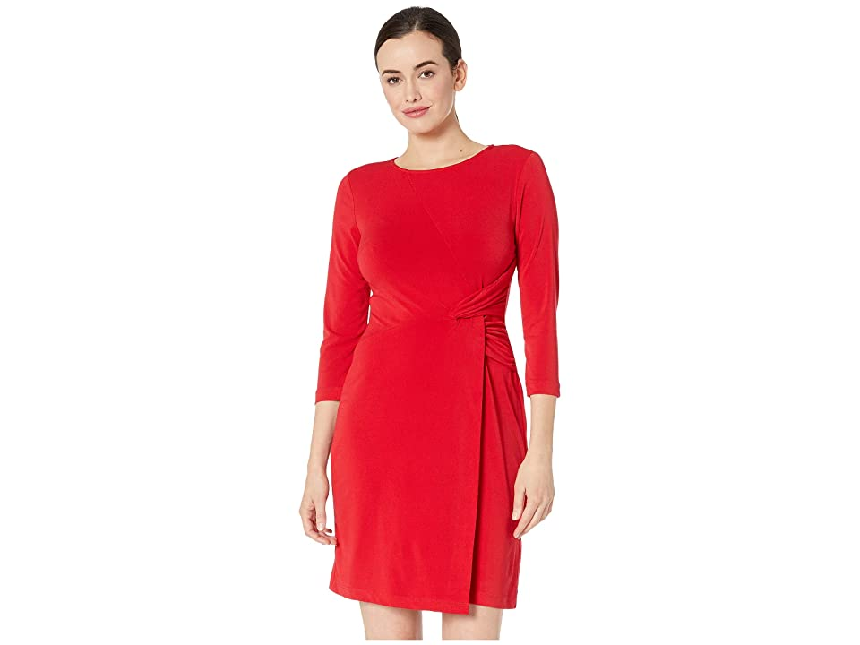 eci Scoop Neck 3/4 Sleeve Overlayed Stretch Dress (Red) Women