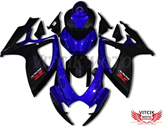 VITCIK (Fairing Kits Fit for Suzuki GSX-R750 GSX-R600 K6 2006 2007 GSXR 600 750 K6 06 07 Plastic ABS Injection Mold Complete Motorcycle Body Aftermarket Bodywork Frame (Blue & Black) A075