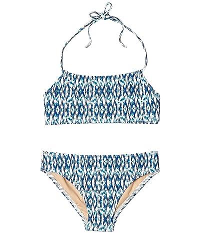 Toobydoo Tropical Blue Bandeau Halter Bikini (Infant/Toddler/Little Kids/Big Kids) (Multi Blue) Girl