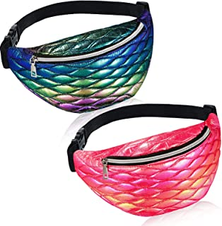 2 Pieces Mermaid Holographic Fanny Packs Metallic Sport Waist Pack Bag PU Leather Holographic Waterproof Waistbag with Adj...