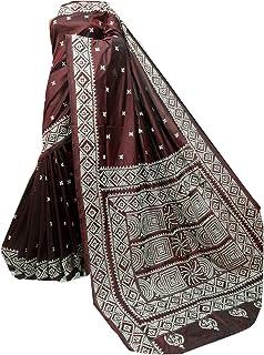 بلوزة الساري النسائية الهندية من WINE مع الحرير بانغالور الممزوج للجسم بالكامل من قماش الكنثا منسوج يدويًا 918a