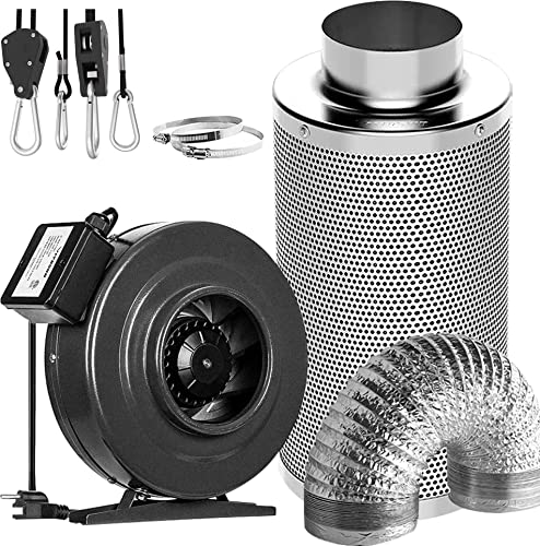 discount VIVOSUN lowest Air online sale Filtration Kit: 6 Inch 440 CFM Inline Fan, 6'' Carbon Filter and 16 Feet of Ducting Combo, 1-Pair 1/8 inch 8ft Adjustable Rope Hanger online sale