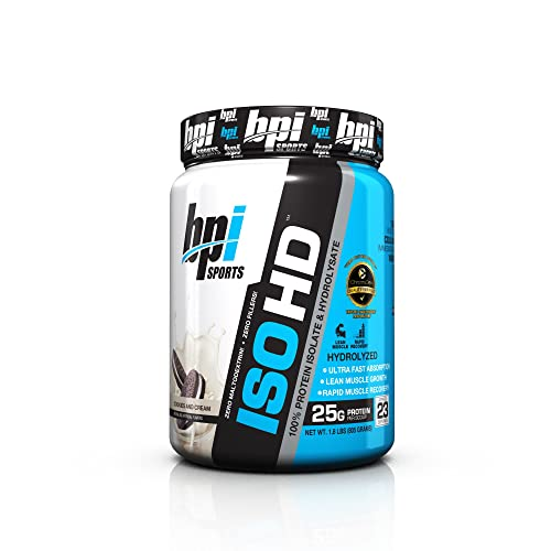 BPI ISO HD Superior 100% Whey Protein Isolate and Hydrolysate – Zero Carbs, No Fillers, No Maltodextrin and Low Calorie, Cookies and Cream, 1.8 Pound