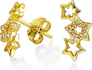 3 Patriotic Celestial Cubic Zirconia Rock Stars CZ Stud Earrings Crawler For Women 14K Gold Plated 925 Sterling Silver