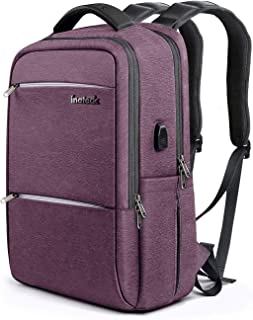 Inateck School Backpack with USB Charging Port, Anti-Theft School Bag Business Travel Laptop Backpack Fits Up to 15.6 Inch Laptops, Rucksack with Waterproof Rain Cover - Purple