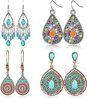 4 Pair Bohemian Vintage Earrings Dangle Drop Earring Jewelry Accessories for Women Girl Supplies