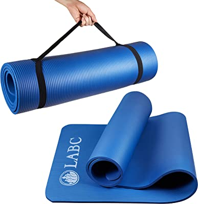 LABC Thick Mats for Home Workout - Meditation and Physical Therapy - A Comfortable and Soft Yoga Mat that provides Stimulation for Overall Health - with Carrying Strap