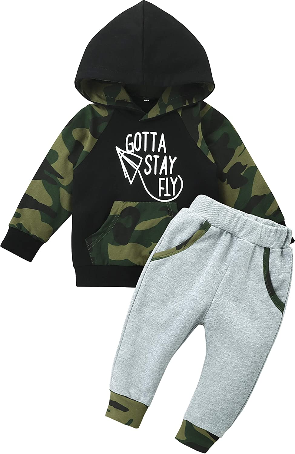 Baby Boy Clothes Camo Sweater Long Sleeve Set Toddler Baby Boy Outfits Hoodie Sweatpants (0-24 Months)