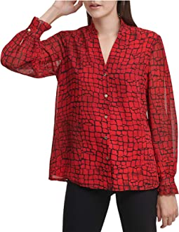 Button Front Blouse with V-Neck