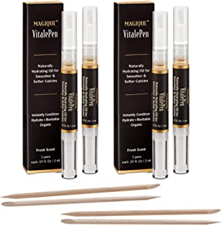 Cuticle Oil Pen & Nail Strengthener - Nail Oil & Nail Guardian Serum - Cuticle Softener Oil Pens with Vitamins A & E - Natural Nails Treatment - 2 Box Includes 4 Pens - Magique VitalePen .28oz