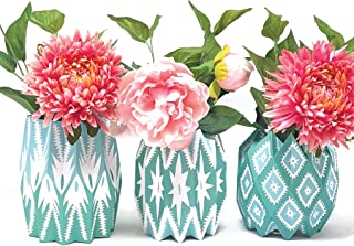Lucy Grymes Set of 3 Expandable and Collapsible Paper Flower Vases - 7 Patterns Available - Reusable Flower Vase Wraps - Made in USA - Recyclable (Teal)