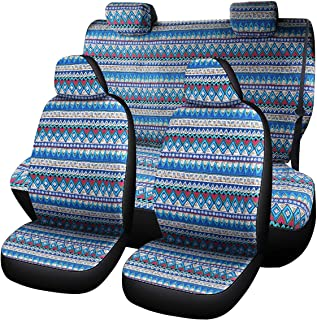 AUTOJING Bohemian Style Seat Covers,Universal Seat Covers for Car Seats,Blue(bohe04)