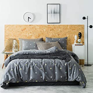 YuHeGuoJi 3 Pieces Duvet Cover Set 100% Cotton Grey Queen Size Cross Pattern Bedding Set 1 Geometric Print Duvet Cover with Zipper Ties 2 Pillowcases Hotel Quality Breathable Lightweight Easy Care