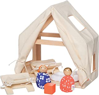 MiO Cabin + 2 Bean Bag People Peg Dolls Imaginative Montessori Style STEM Learning Wooden Building Playset for Boys and Girls 3 Years + Up by Manhattan Toy