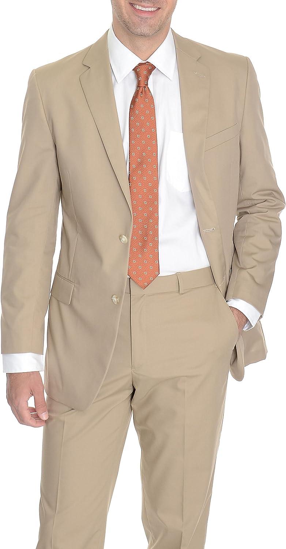 Kroon Mens Modern Fit Solid Khaki Tan 2 Piece Cotton Summer Suit