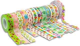Summer Washi Tapes Bulk Party Favors Pack - 12 Summer Washi Tape Set for Kids Adults (Summer Party Supplies, Decorations)