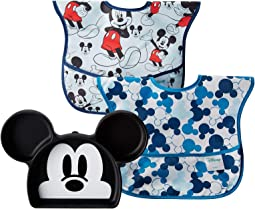 Disney Mickey Silicone Grip Dish w/ Bib 2-Pack